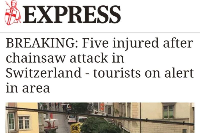 שווייץ: אדם תקף במסור חשמלי; חמישה נפצעו