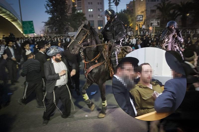 תלמיד 'הפלג' עם מדים על רקע ההפגנות בירושלים. צילום: יונתן זינדל, פלאש 90
