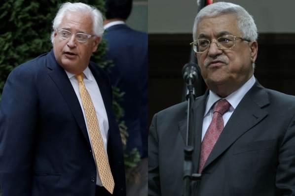 """אבו מאזן נגד שגריר ארה""""ב בישראל: """"בן כלב"""""""