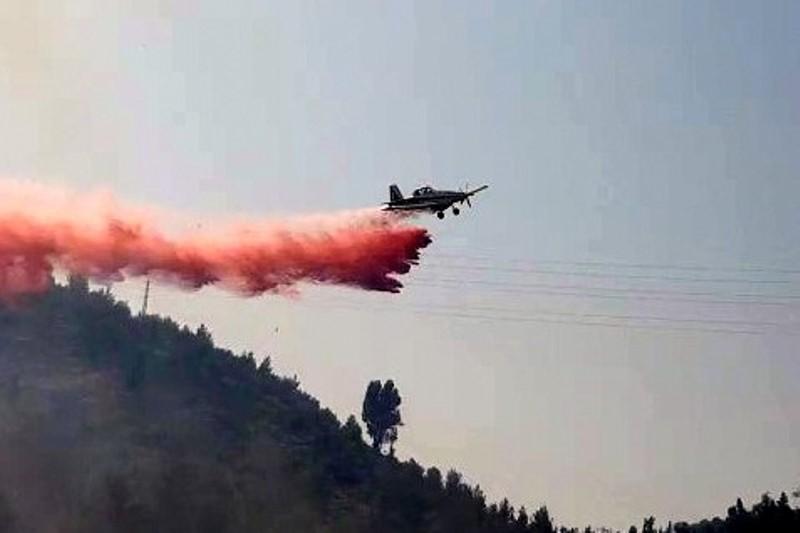שריפת ענק סמוך לי-ם, המטוסים נאבקים: צפו